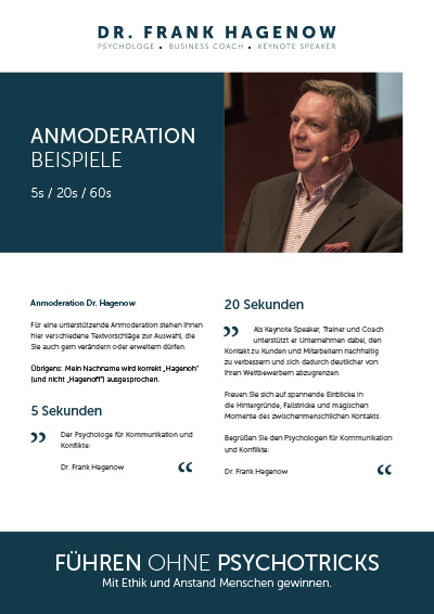 Anmoderationsbeispiele Dr. Frank Hagenow